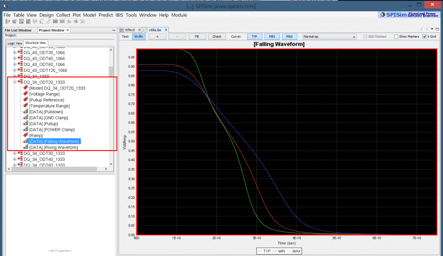 Viewing model data of an IBIS file in SPIBPro
