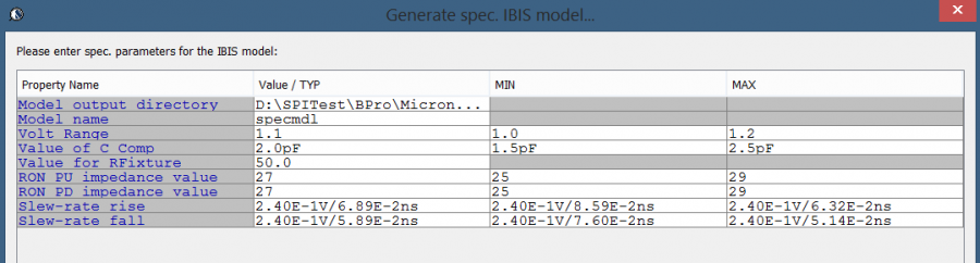 SPISim BPro's Spec. model generation