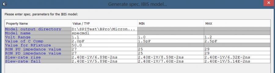 SPISim BPro's Spec. model generation